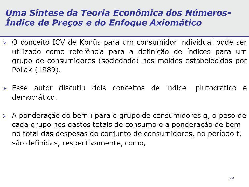 20 Uma Síntese da Teoria Econômica dos Números- Índice de Preços e do Enfoque Axiomático O conceito ICV de Konüs para um consumidor individual pode ser utilizado como referência para a definição de índices para um grupo de consumidores (sociedade) nos moldes estabelecidos por Pollak (1989).
