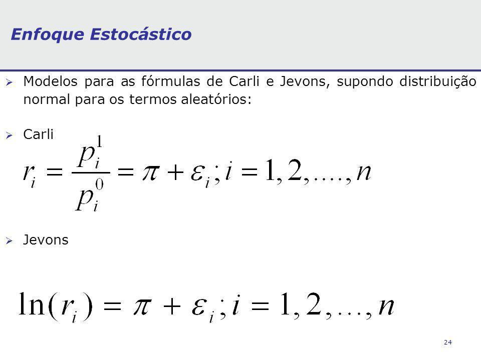 24 Enfoque Estocástico Modelos para as fórmulas de Carli e Jevons, supondo distribuição normal para os termos aleatórios: Carli Jevons