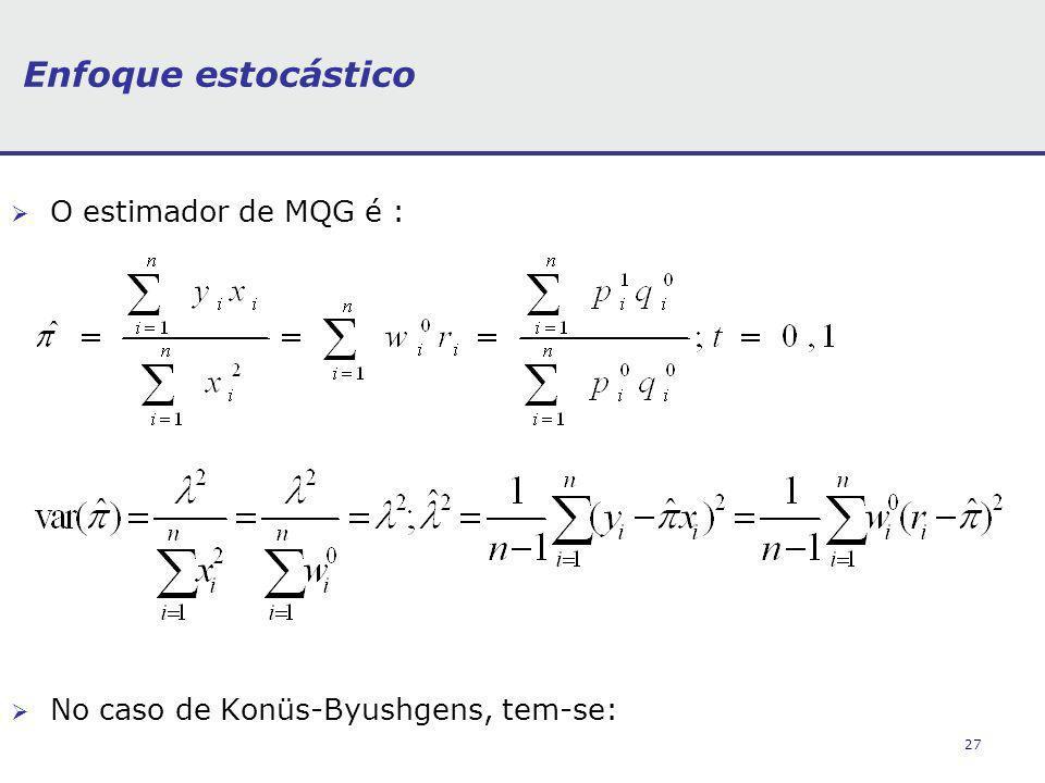 27 Enfoque estocástico O estimador de MQG é : No caso de Konüs-Byushgens, tem-se: