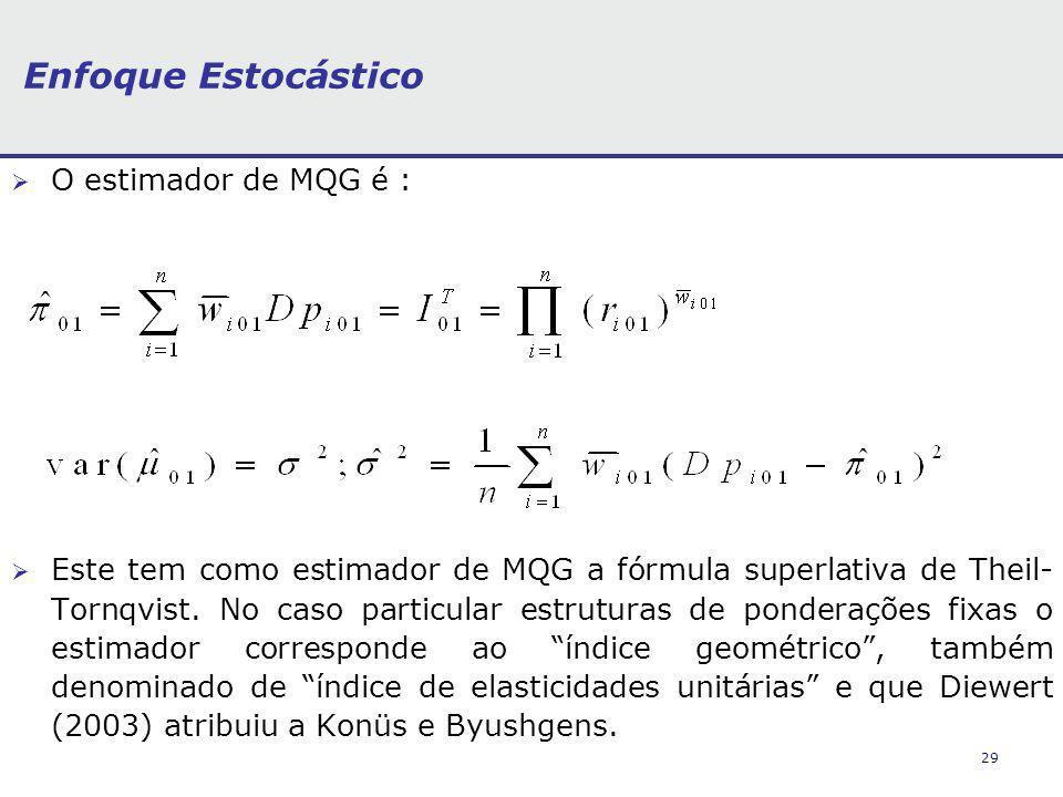 29 Enfoque Estocástico O estimador de MQG é : Este tem como estimador de MQG a fórmula superlativa de Theil- Tornqvist. No caso particular estruturas