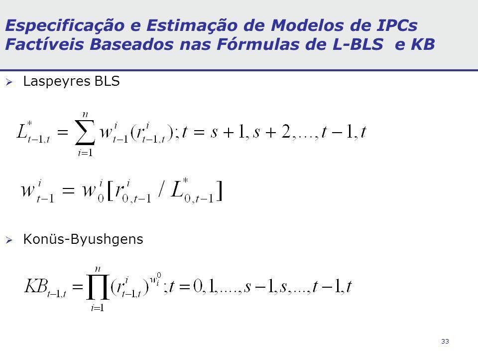 33 Especificação e Estimação de Modelos de IPCs Factíveis Baseados nas Fórmulas de L-BLS e KB Laspeyres BLS Konüs-Byushgens