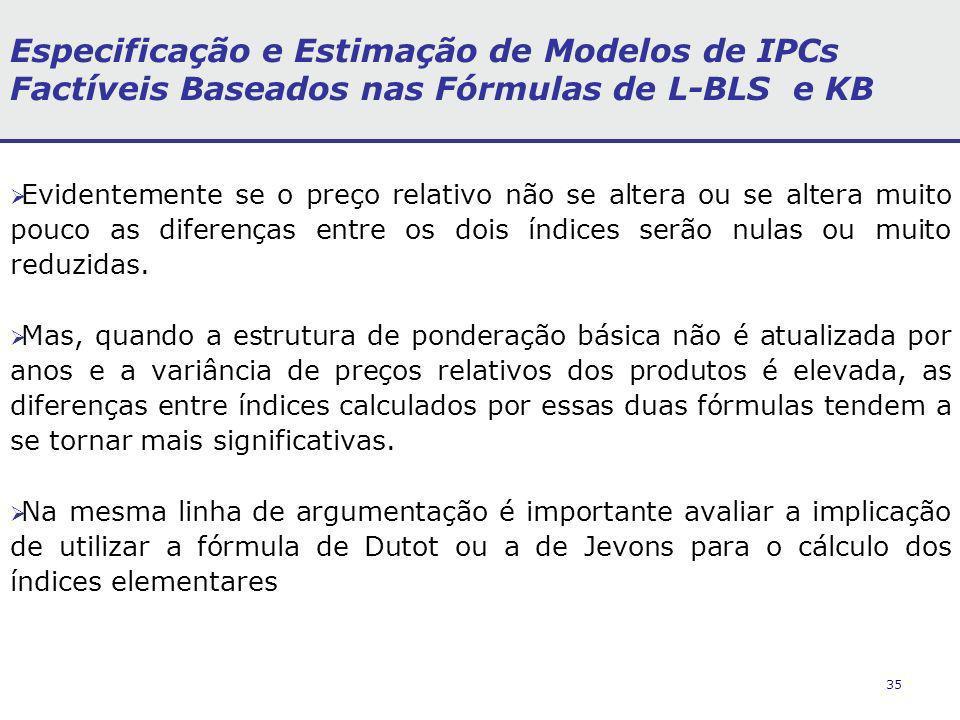 35 Especificação e Estimação de Modelos de IPCs Factíveis Baseados nas Fórmulas de L-BLS e KB Evidentemente se o preço relativo não se altera ou se al