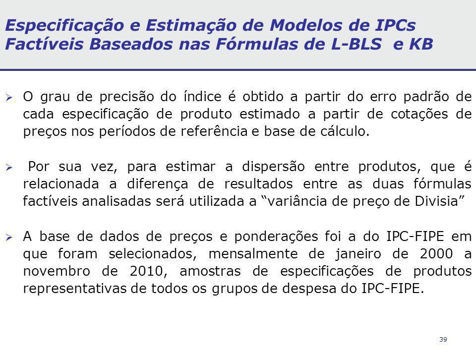 39 Especificação e Estimação de Modelos de IPCs Factíveis Baseados nas Fórmulas de L-BLS e KB O grau de precisão do índice é obtido a partir do erro padrão de cada especificação de produto estimado a partir de cotações de preços nos períodos de referência e base de cálculo.