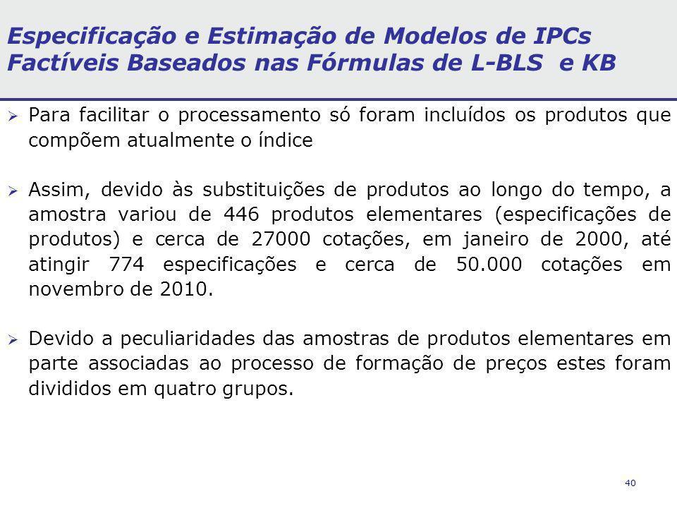 40 Especificação e Estimação de Modelos de IPCs Factíveis Baseados nas Fórmulas de L-BLS e KB Para facilitar o processamento só foram incluídos os produtos que compõem atualmente o índice Assim, devido às substituições de produtos ao longo do tempo, a amostra variou de 446 produtos elementares (especificações de produtos) e cerca de 27000 cotações, em janeiro de 2000, até atingir 774 especificações e cerca de 50.000 cotações em novembro de 2010.