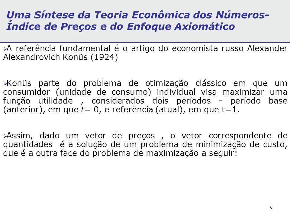 6 Uma Síntese da Teoria Econômica dos Números- Índice de Preços e do Enfoque Axiomático A referência fundamental é o artigo do economista russo Alexan