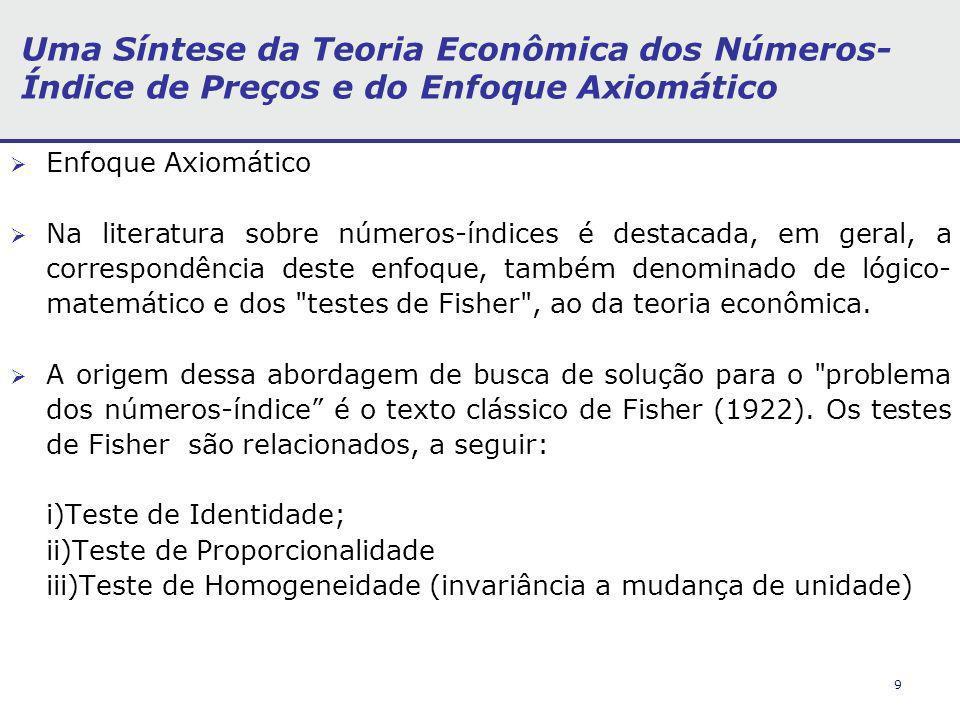 9 Uma Síntese da Teoria Econômica dos Números- Índice de Preços e do Enfoque Axiomático Enfoque Axiomático Na literatura sobre números-índices é desta
