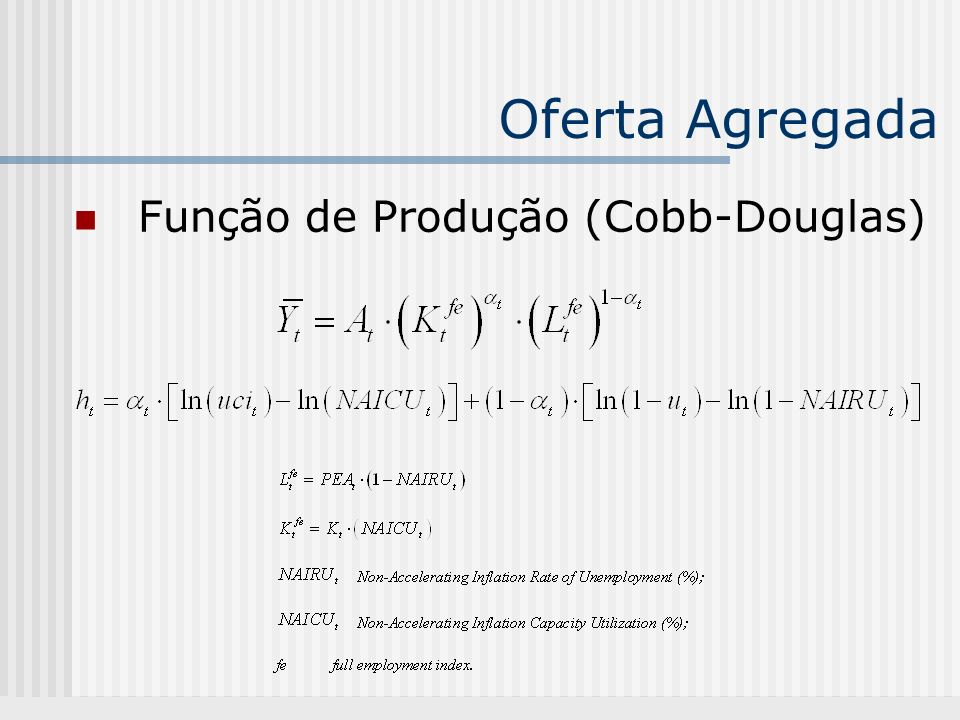 Oferta Agregada Função de Produção (Cobb-Douglas)