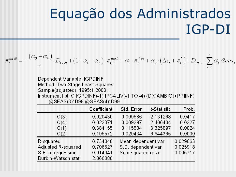 Equação dos Administrados IGP-DI