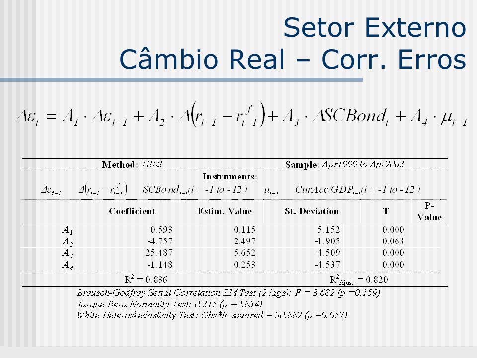 Setor Externo Câmbio Real – Corr. Erros