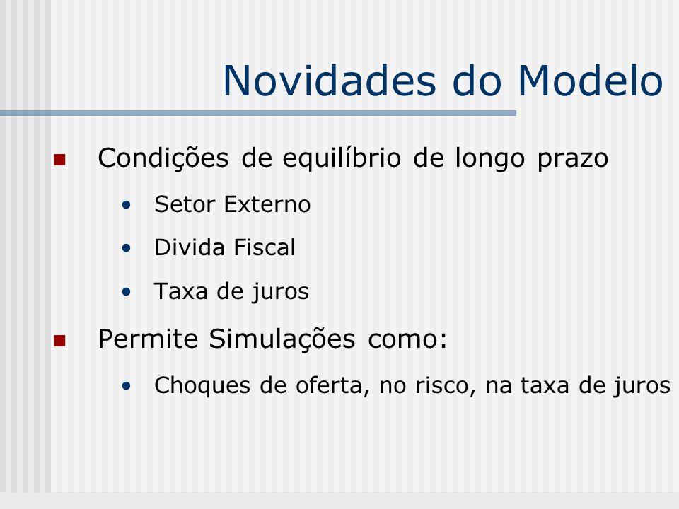 Novidades do Modelo Condições de equilíbrio de longo prazo Setor Externo Divida Fiscal Taxa de juros Permite Simulações como: Choques de oferta, no risco, na taxa de juros