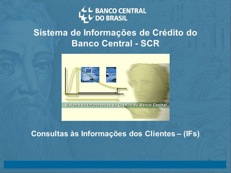 14/05/2003 24/07/20032 Sistema de Informações de Crédito do Banco Central - SCR Consultas às Informações dos Clientes – (IFs)