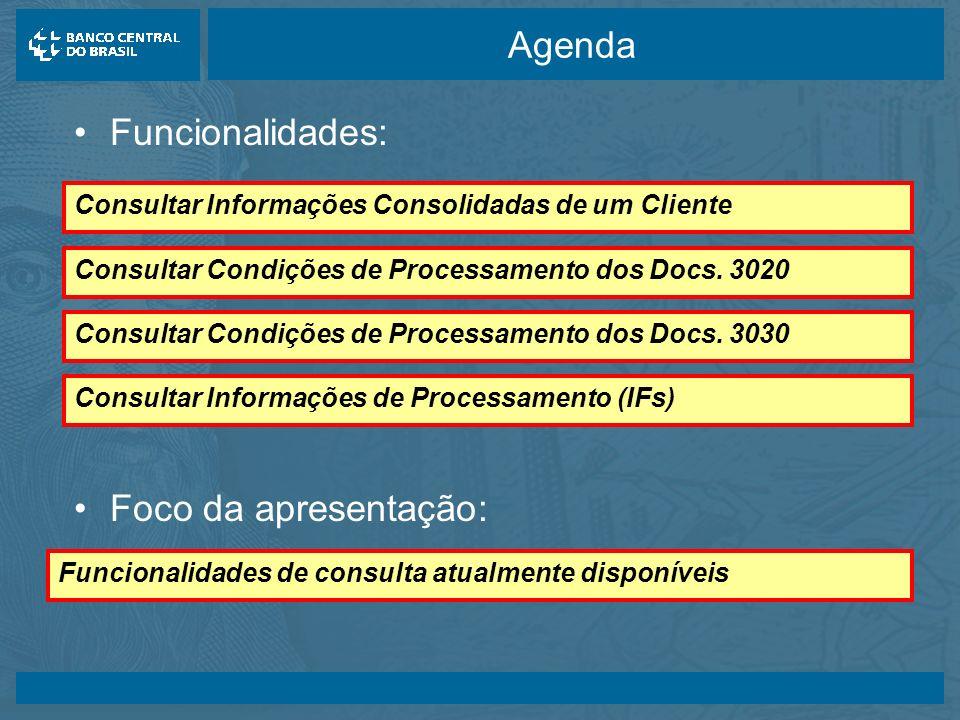 14/05/2003 Agenda Funcionalidades: Funcionalidades de consulta atualmente disponíveis Consultar Informações de Processamento (IFs) Consultar Condições de Processamento dos Docs.
