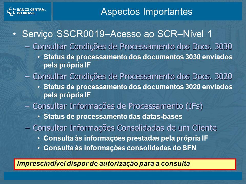 14/05/2003 Aspectos Importantes Serviço SSCR0019–Acesso ao SCR–Nível 1 –Consultar Condições de Processamento dos Docs.