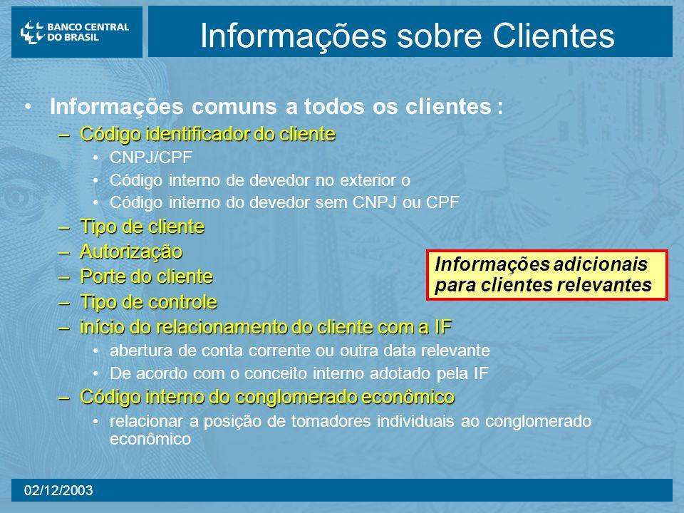 02/12/2003 Informações sobre Clientes Informações comuns a todos os clientes : –Código identificador do cliente CNPJ/CPF Código interno de devedor no