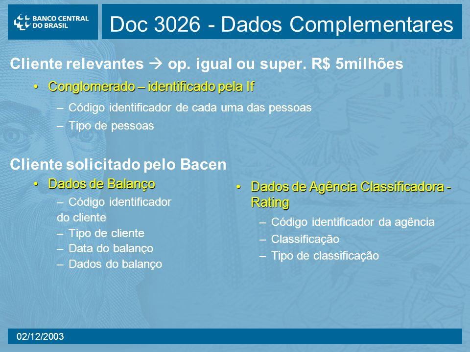 02/12/2003 Doc 3026 - Dados Complementares Cliente relevantes op. igual ou super. R$ 5milhões Conglomerado – identificado pela IfConglomerado – identi