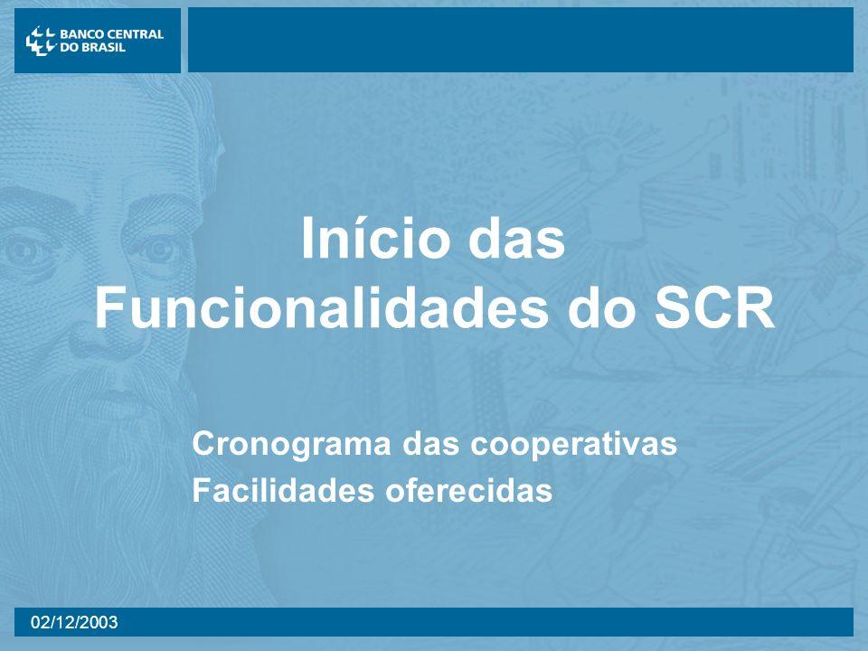 02/12/2003 Início das Funcionalidades do SCR Cronograma das cooperativas Facilidades oferecidas