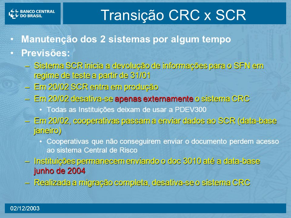 02/12/2003 Transição CRC x SCR Manutenção dos 2 sistemas por algum tempo Previsões: –Sistema SCR inicia a devolução de informações para o SFN em regim