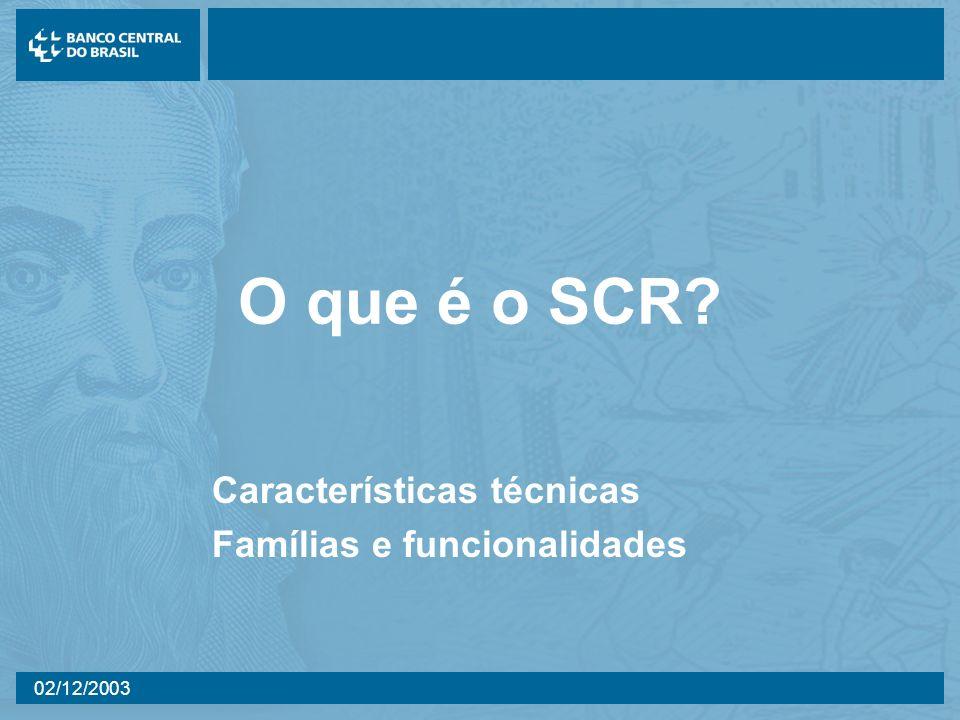 02/12/2003 O que é o SCR? Características técnicas Famílias e funcionalidades