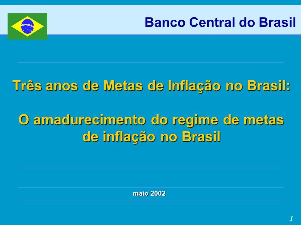 1 Três anos de Metas de Inflação no Brasil: O amadurecimento do regime de metas de inflação no Brasil maio 2002 Banco Central do Brasil