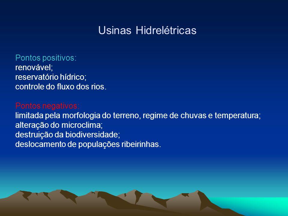 Usinas Hidrelétricas Pontos positivos: renovável; reservatório hídrico; controle do fluxo dos rios.