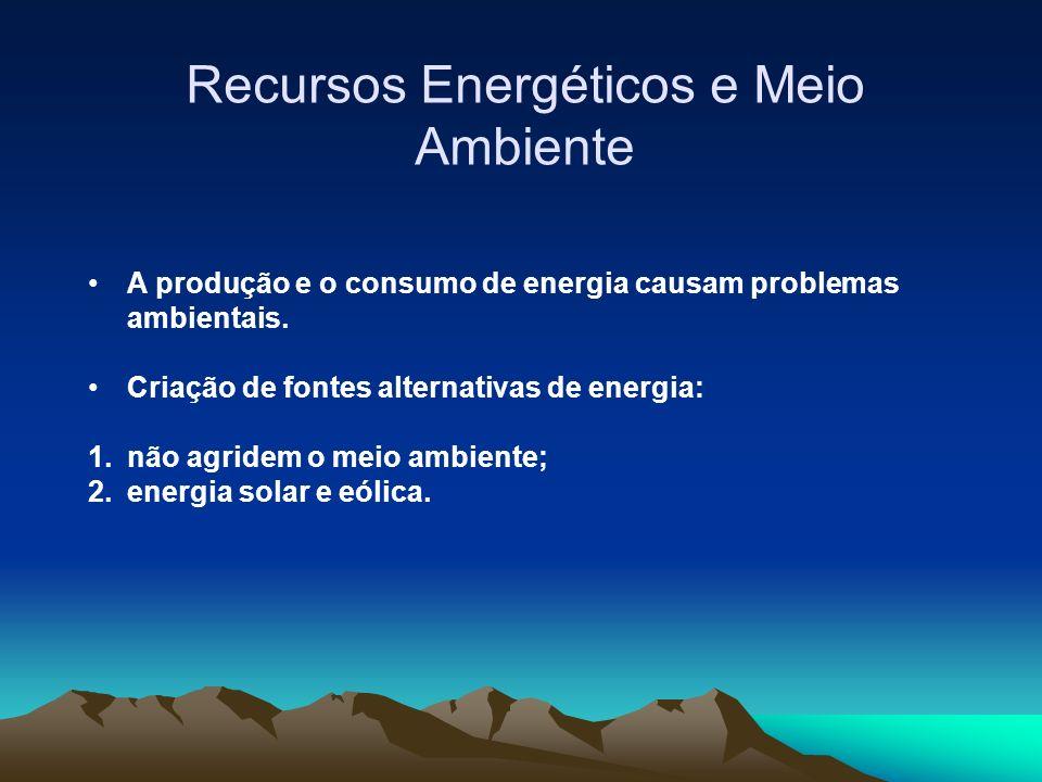 Recursos Energéticos e Meio Ambiente A produção e o consumo de energia causam problemas ambientais.