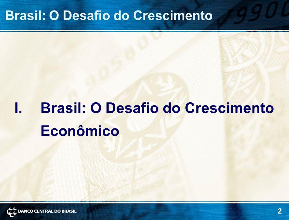 3 O PIB brasileiro cresceu bem menos que os de outras economias emergentes nos últimos 25 anos (média, 1980-2005) Brasil: O Desafio do Crescimento 0 2 4 6 8 10 China Cingapura Coréia do Sul Malásia Tailândia Índia Chile Turquia México Brasil %