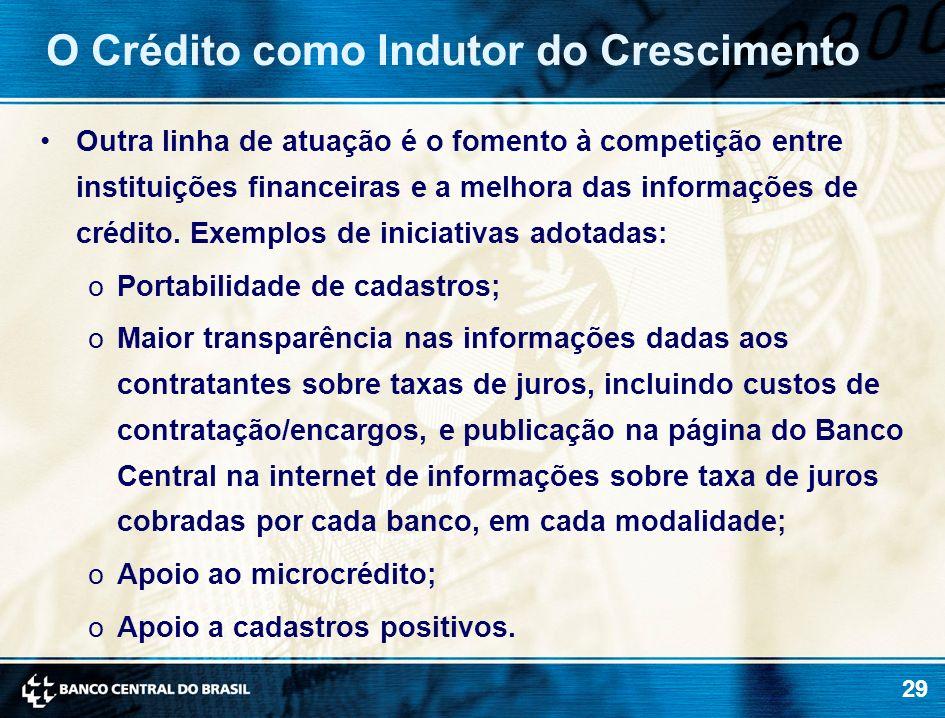 29 Outra linha de atuação é o fomento à competição entre instituições financeiras e a melhora das informações de crédito. Exemplos de iniciativas adot