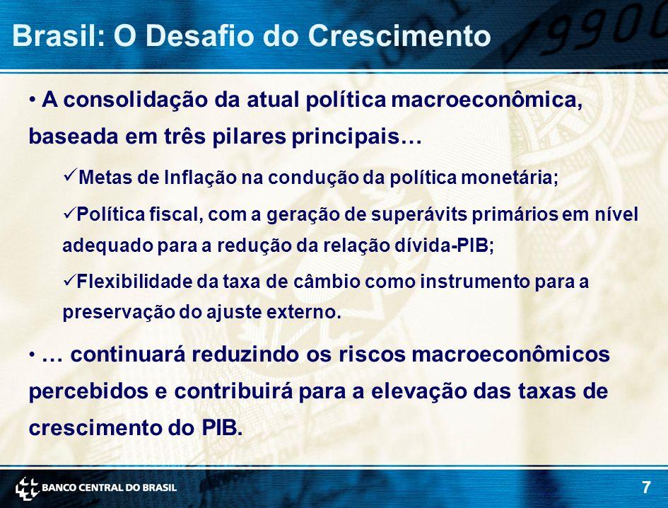 7 A consolidação da atual política macroeconômica, baseada em três pilares principais… Metas de Inflação na condução da política monetária; Política f