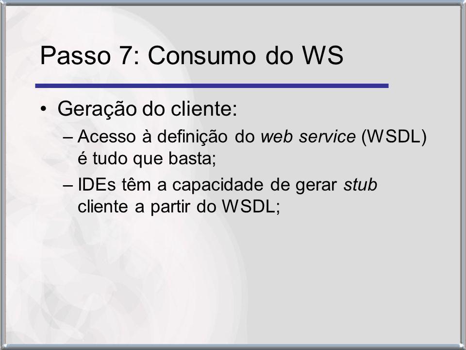 Passo 7: Consumo do WS Geração do cliente: –Acesso à definição do web service (WSDL) é tudo que basta; –IDEs têm a capacidade de gerar stub cliente a partir do WSDL;