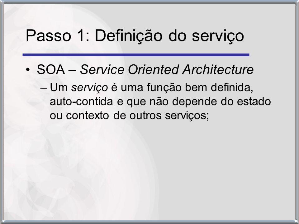 Passo 1: Definição do serviço SOA – Service Oriented Architecture –Um serviço é uma função bem definida, auto-contida e que não depende do estado ou contexto de outros serviços;