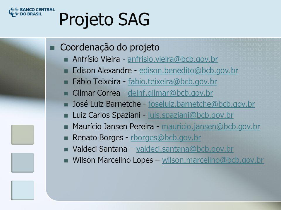 Projeto SAG Coordenação do projeto Anfrísio Vieira - anfrisio.vieira@bcb.gov.branfrisio.vieira@bcb.gov.br Edison Alexandre - edison.benedito@bcb.gov.bredison.benedito@bcb.gov.br Fábio Teixeira - fabio.teixeira@bcb.gov.brfabio.teixeira@bcb.gov.br Gilmar Correa - deinf.gilmar@bcb.gov.brdeinf.gilmar@bcb.gov.br José Luiz Barnetche - joseluiz.barnetche@bcb.gov.brjoseluiz.barnetche@bcb.gov.br Luiz Carlos Spaziani - luis.spaziani@bcb.gov.brluis.spaziani@bcb.gov.br Maurício Jansen Pereira - mauricio.jansen@bcb.gov.brmauricio.jansen@bcb.gov.br Renato Borges - rborges@bcb.gov.brrborges@bcb.gov.br Valdeci Santana – valdeci.santana@bcb.gov.brvaldeci.santana@bcb.gov.br Wilson Marcelino Lopes – wilson.marcelino@bcb.gov.brwilson.marcelino@bcb.gov.br