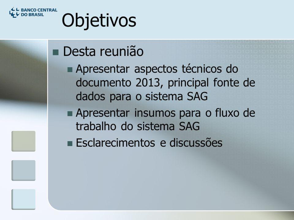 Objetivos Desta reunião Apresentar aspectos técnicos do documento 2013, principal fonte de dados para o sistema SAG Apresentar insumos para o fluxo de trabalho do sistema SAG Esclarecimentos e discussões