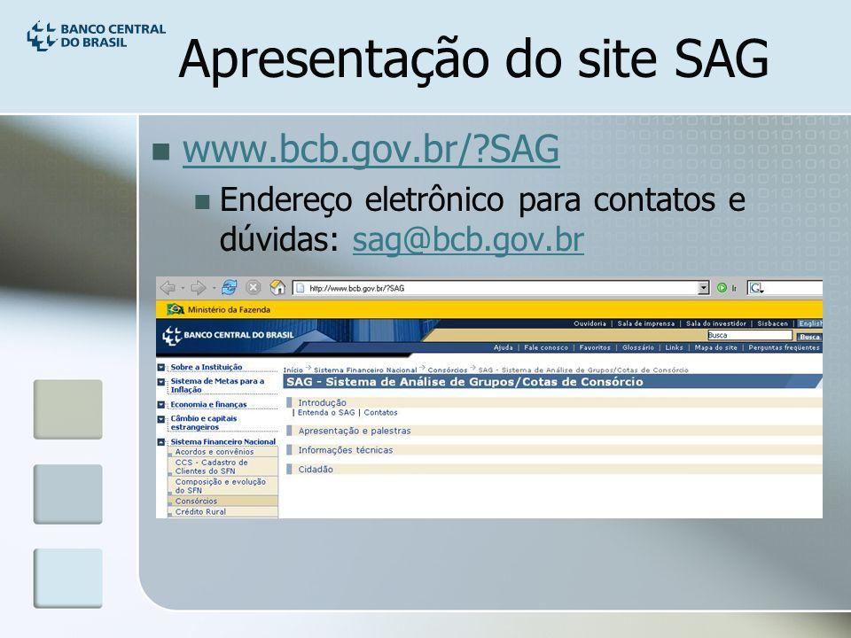 Apresentação do site SAG www.bcb.gov.br/ SAG Endereço eletrônico para contatos e dúvidas: sag@bcb.gov.brsag@bcb.gov.br