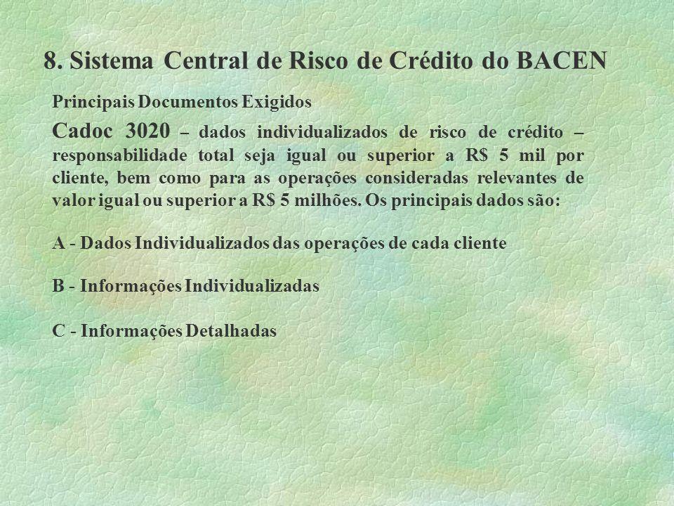 8. Sistema Central de Risco de Crédito do BACEN Principais Documentos Exigidos Cadoc 3020 – dados individualizados de risco de crédito – responsabilid
