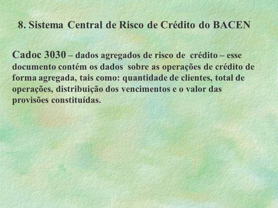 8. Sistema Central de Risco de Crédito do BACEN Cadoc 3030 – dados agregados de risco de crédito – esse documento contém os dados sobre as operações d