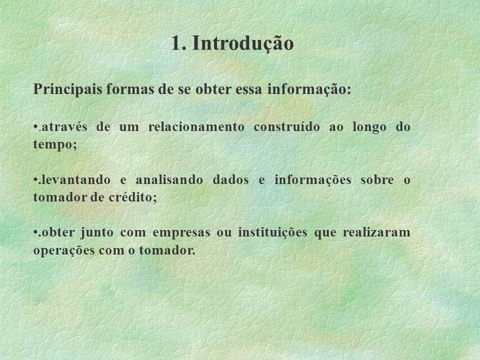 1.Introdução Centrais de Informação de Crédito (CICs) O que são.