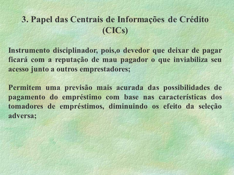 3. Papel das Centrais de Informações de Crédito (CICs) Instrumento disciplinador, pois,o devedor que deixar de pagar ficará com a reputação de mau pag