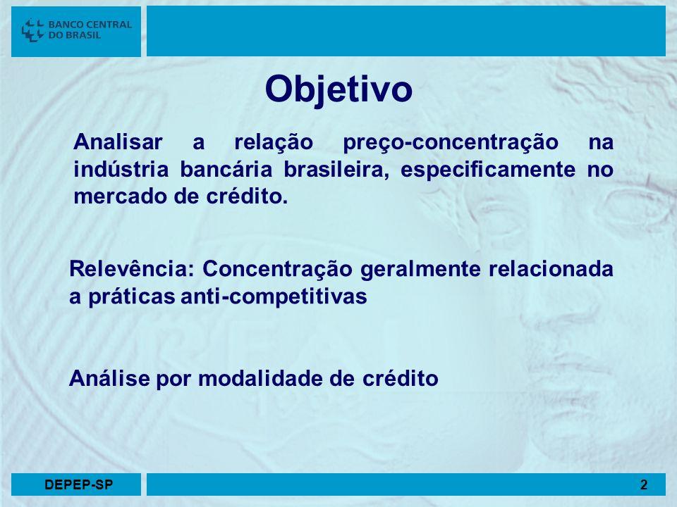 Analisar a relação preço-concentração na indústria bancária brasileira, especificamente no mercado de crédito. Relevência: Concentração geralmente rel