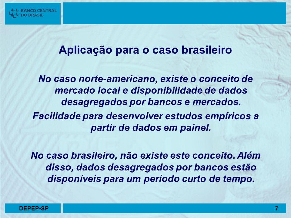 Relação preço-concentração – Caso brasileiro p ijt = β 0 + β 1 CONC jt + β 2 INAD ijt + + β 3 PRAZO ijt + + β 4 CRED ijt + β 5 CUSTO ijt + u ijt p ijt = taxa de juros CONC jt = grau de concentração INAD ijt = grau de inadimplência (acima 90 dias) PRAZO ijt = prazo médio CRED ijt = créditos livres / circulante CUSTO ijt = despesas adm / receitas operacionais i = 87 bancos j = 12 modalidades t = 14 meses DEPEP-SP8