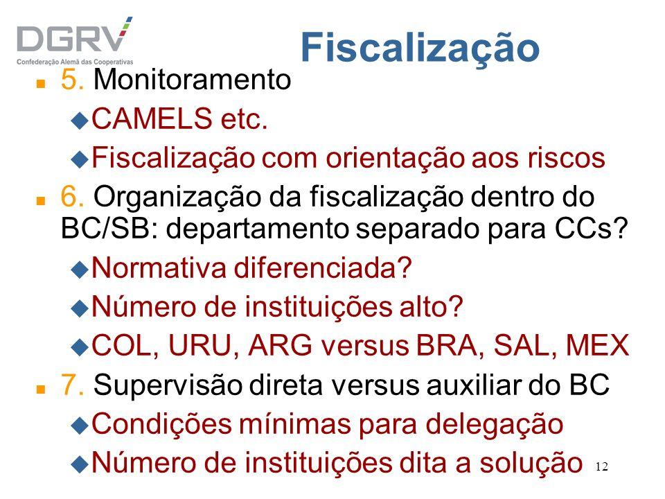 12 Fiscalização n 5. Monitoramento u CAMELS etc. u Fiscalização com orientação aos riscos n 6. Organização da fiscalização dentro do BC/SB: departamen