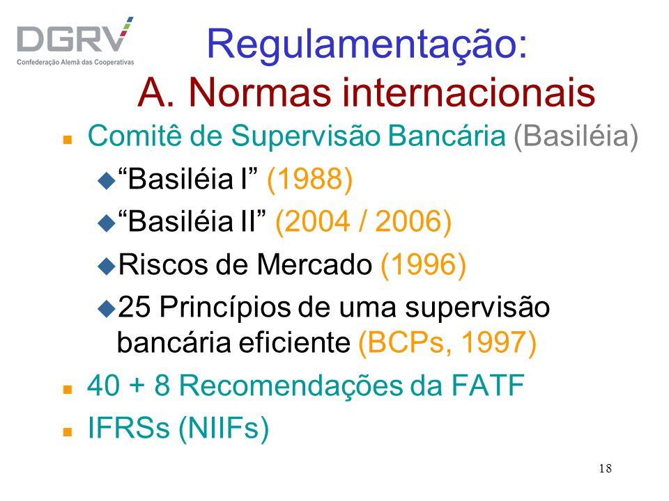 18 Regulamentação: A. Normas internacionais n Comitê de Supervisão Bancária (Basiléia) u Basiléia I (1988) u Basiléia II (2004 / 2006) u Riscos de Mer