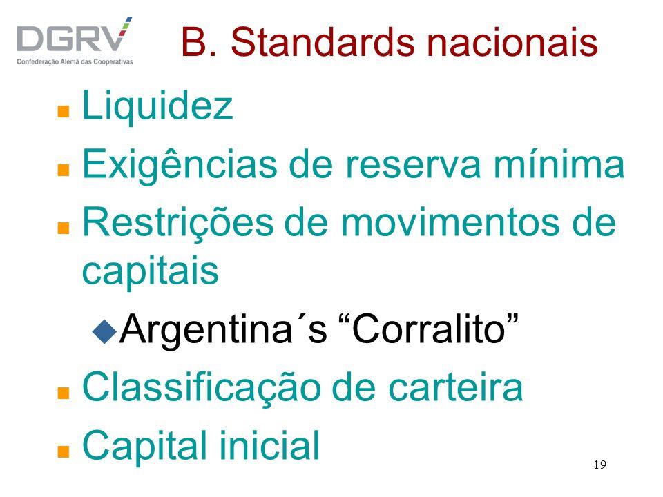 19 B. Standards nacionais n Liquidez n Exigências de reserva mínima n Restrições de movimentos de capitais u Argentina´s Corralito n Classificação de