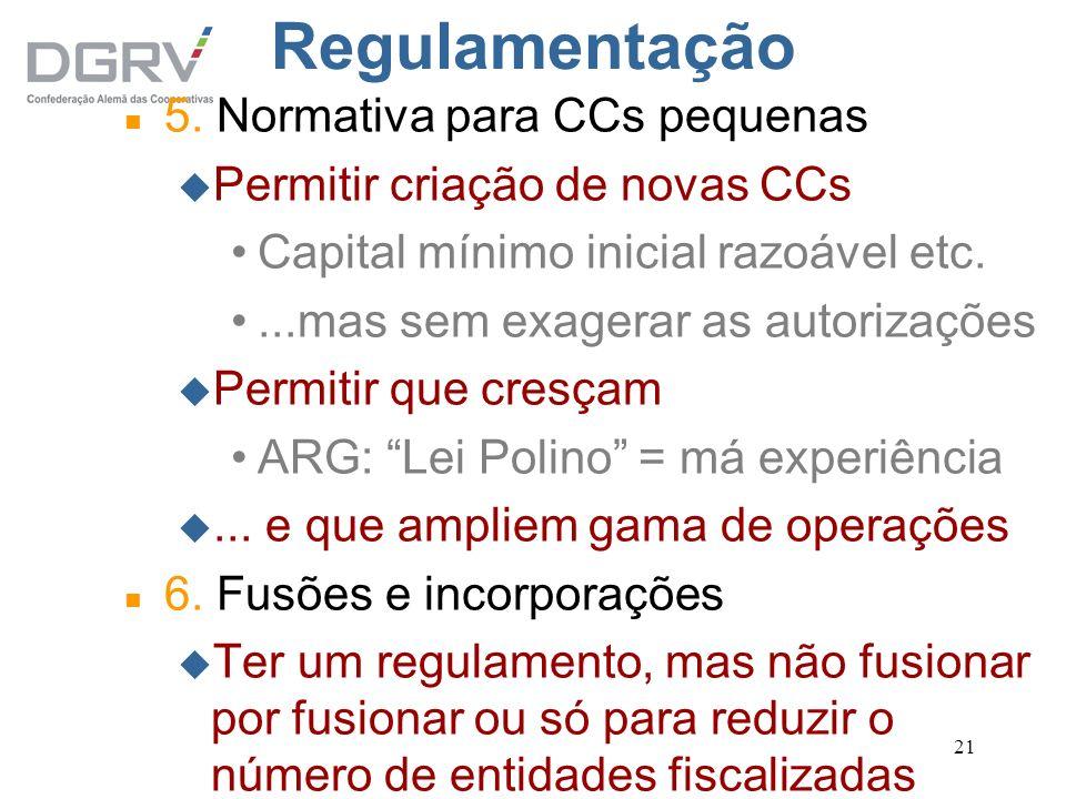 21 Regulamentação n 5. Normativa para CCs pequenas u Permitir criação de novas CCs Capital mínimo inicial razoável etc....mas sem exagerar as autoriza
