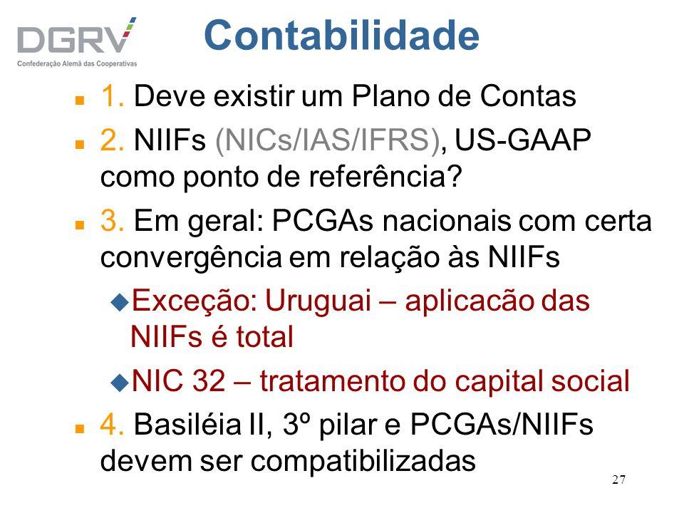27 Contabilidade n 1. Deve existir um Plano de Contas n 2. NIIFs (NICs/IAS/IFRS), US-GAAP como ponto de referência? n 3. Em geral: PCGAs nacionais com