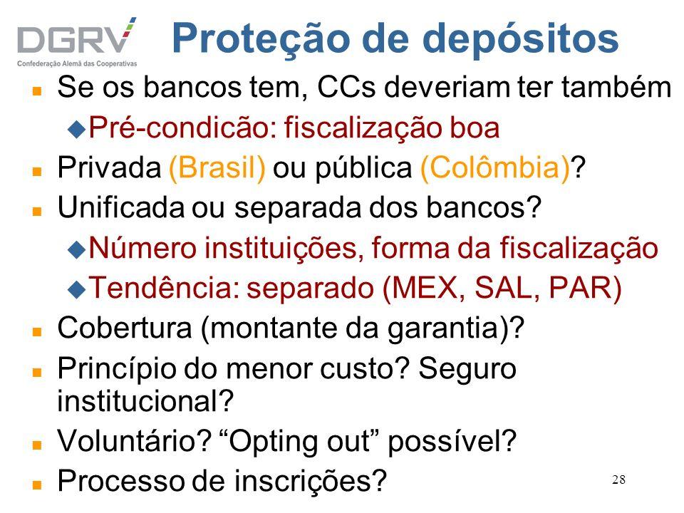 28 Proteção de depósitos n Se os bancos tem, CCs deveriam ter também u Pré-condicão: fiscalização boa n Privada (Brasil) ou pública (Colômbia)? n Unif