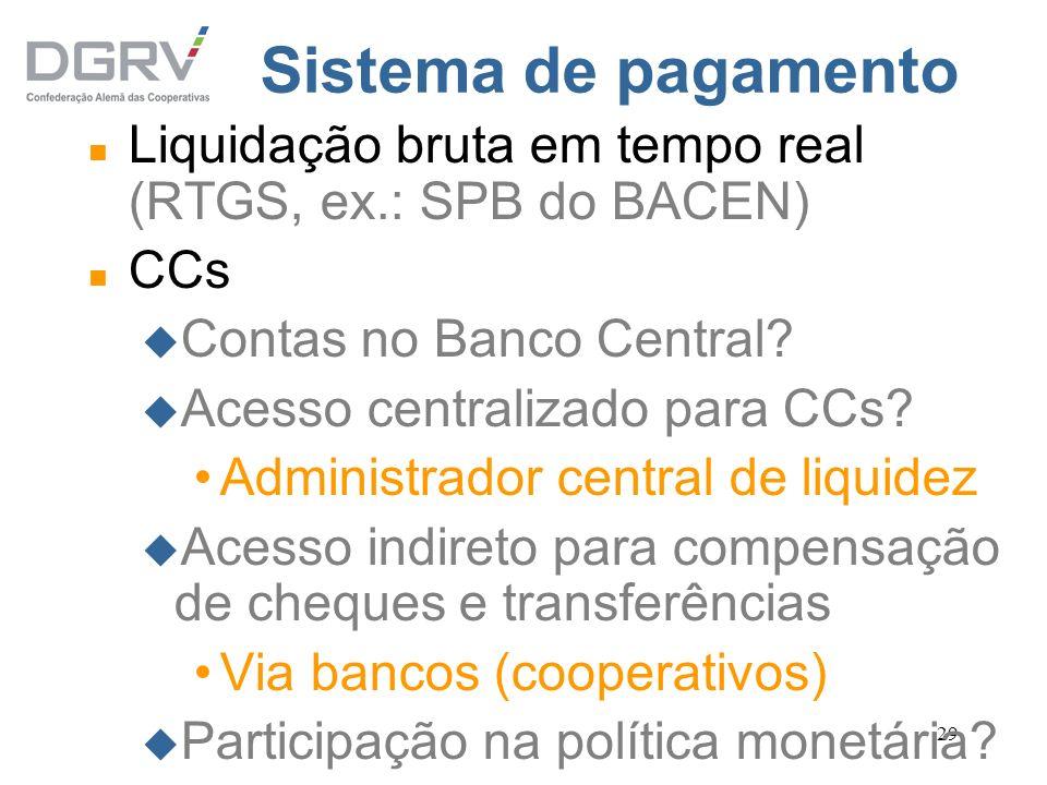 29 Sistema de pagamento n Liquidação bruta em tempo real (RTGS, ex.: SPB do BACEN) n CCs u Contas no Banco Central? u Acesso centralizado para CCs? Ad