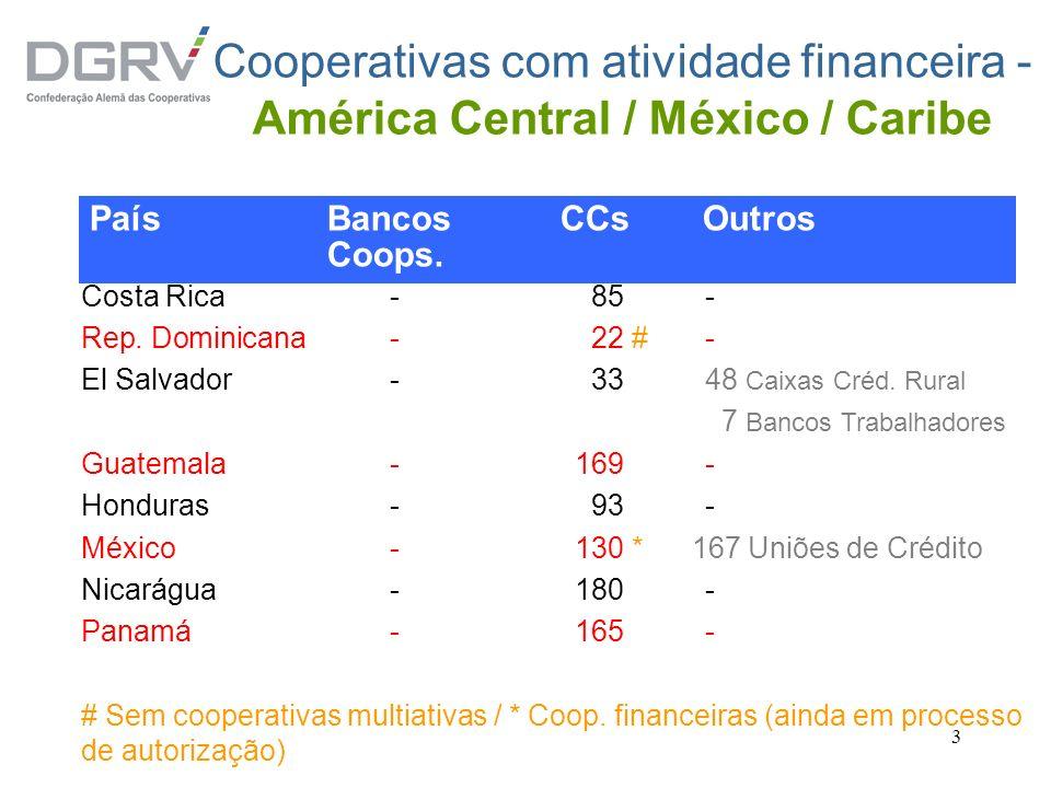 3 Cooperativas com atividade financeira - América Central / México / Caribe Costa Rica- 85- Rep. Dominicana - 22 #- El Salvador- 3348 Caixas Créd. Rur