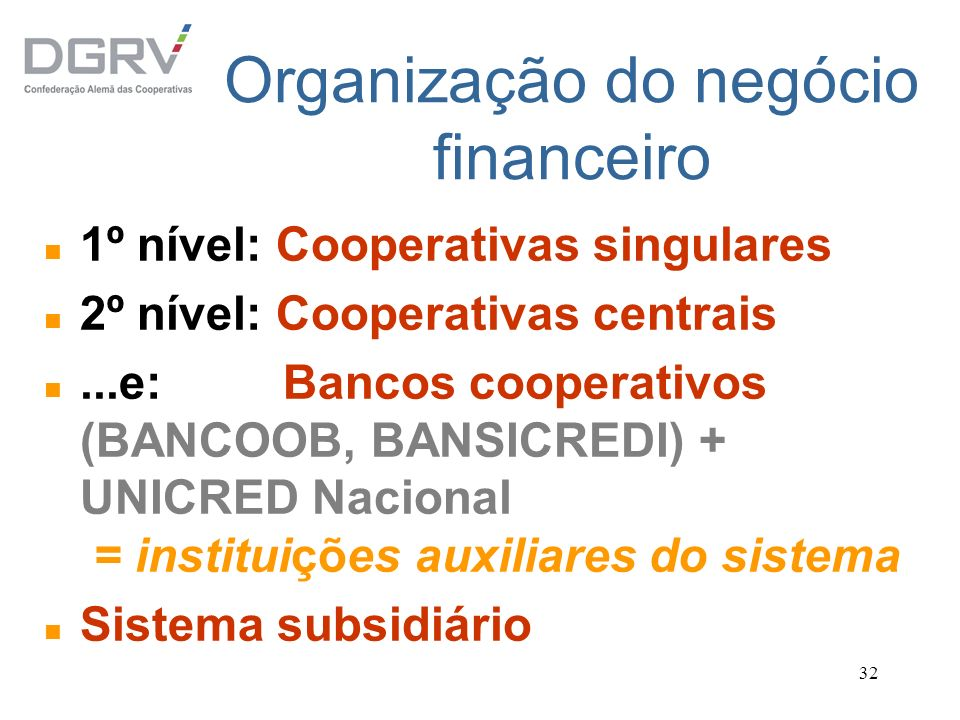 32 Organização do negócio financeiro n 1º nível: Cooperativas singulares n 2º nível: Cooperativas centrais n...e: Bancos cooperativos (BANCOOB, BANSIC