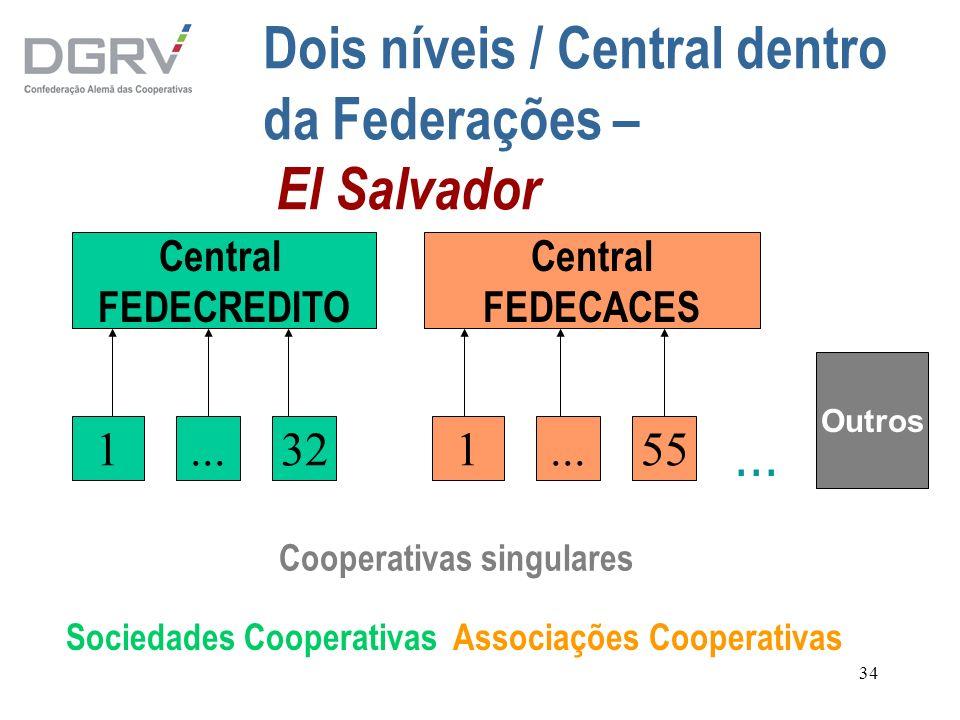 34 Dois níveis / Central dentro da Federações – El Salvador Sociedades Cooperativas Associações Cooperativas Central FEDECACES Central FEDECREDITO 1..