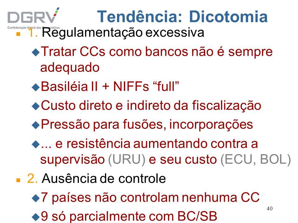 40 Tendência: Dicotomia n 1. Regulamentação excessiva u Tratar CCs como bancos não é sempre adequado u Basiléia II + NIFFs full u Custo direto e indir